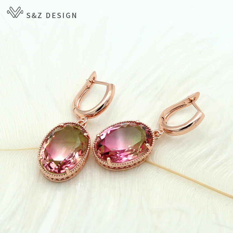S&Z New Oval Egg Shape Colorful Gradient Zircon Dangle Earrings 585 Rose Gold European/American For Women Trendy Party Jewelry