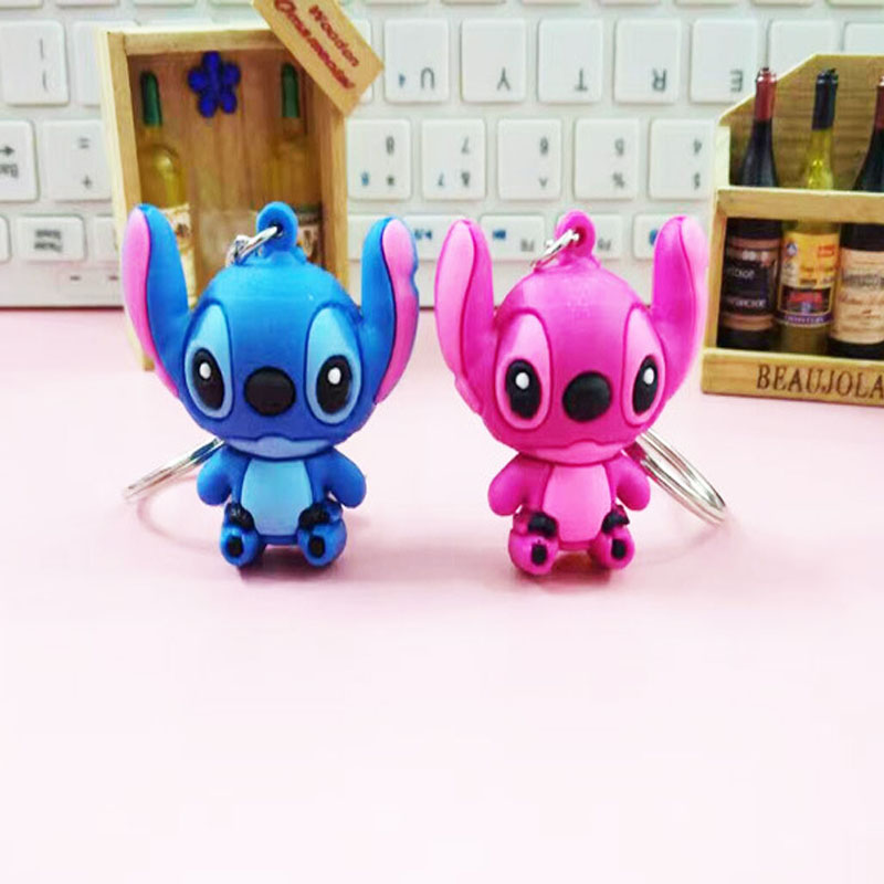 2pcs/lot Soft Silicon Stitch Angel Figures Car Keychain Toys Toys Set 2018 New 1 Blue Stitch + 1 Pink Angel Figurine Key Ring