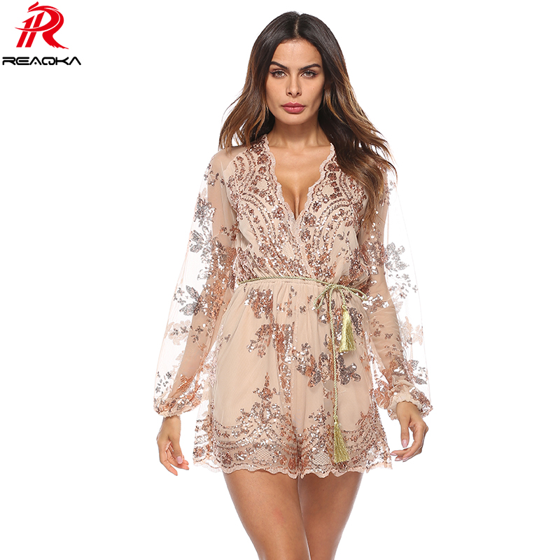 2018 Summer Sexy bodysuit Women V Neck Sequins Jumpsuit Mesh Long Sleeve Clubwear Gold Party Romper Runway Playsuit Overalls Hot