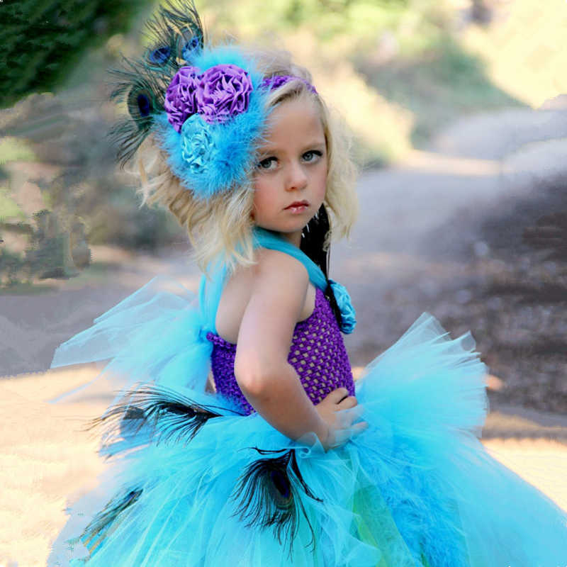 e707ebd14 ... Peacock Feather Flower Girl Tutu Dress Tail Kids Party Ball Gown Dress  for Girls Birthday Pageant ...