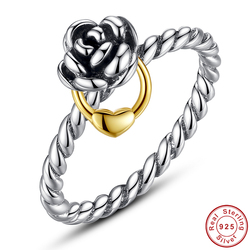 Hot sale authentic 925 sterling silver charming love heart wedding ring retro rose women compatible with.jpg 250x250
