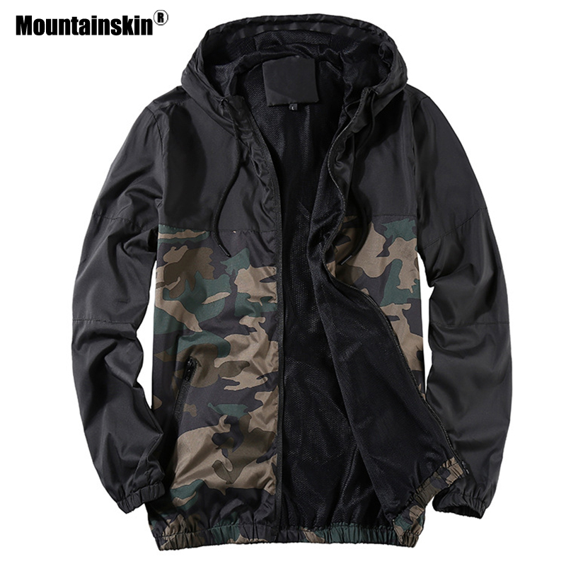 Mountainskin 2019 Men's New Jacket Autumn Jacket Men's Youth Camouflage Patchwork Hood Coat Slim Fit Brand Clothing 4XL SA741