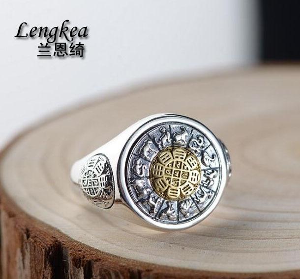 Lengkea bijoux hommes anneaux Vintage 925 bague en argent Sterling anneau d'ouverture rotatif femmes anneau bijoux hommes accessoires amoureux cadeaux