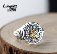 Lengkea jewery Men rings Vintage 925 Sterling Silver ring Rotatable opening ring women ring Jewelry men accessories Lovers Gifts