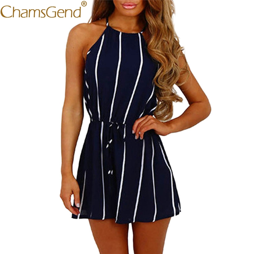 Free Shipping Women Girls Sexy Off Shoulder Striped Chiffon   Jumpsuit   Woman Playsuit 80516 Drop Shipping