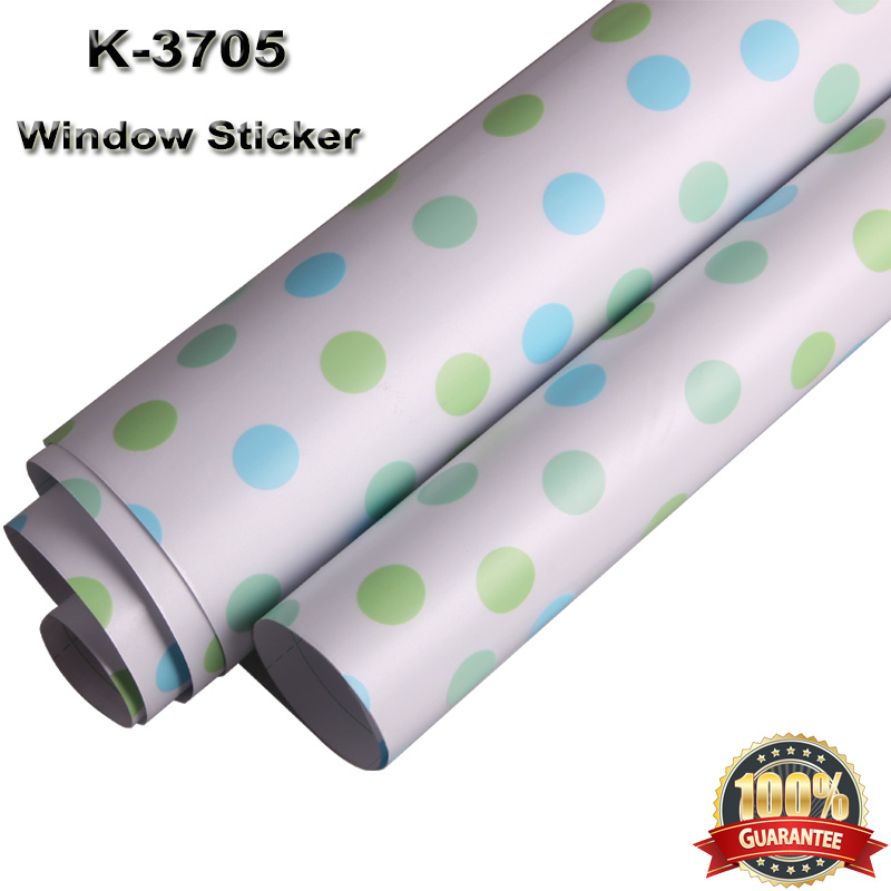 Auto - adhésif vie privée givré verre fenêtre Film décoratif pour fenêtre autocollants avec vert et bleu Spot 1.22 m x 20 m K3705