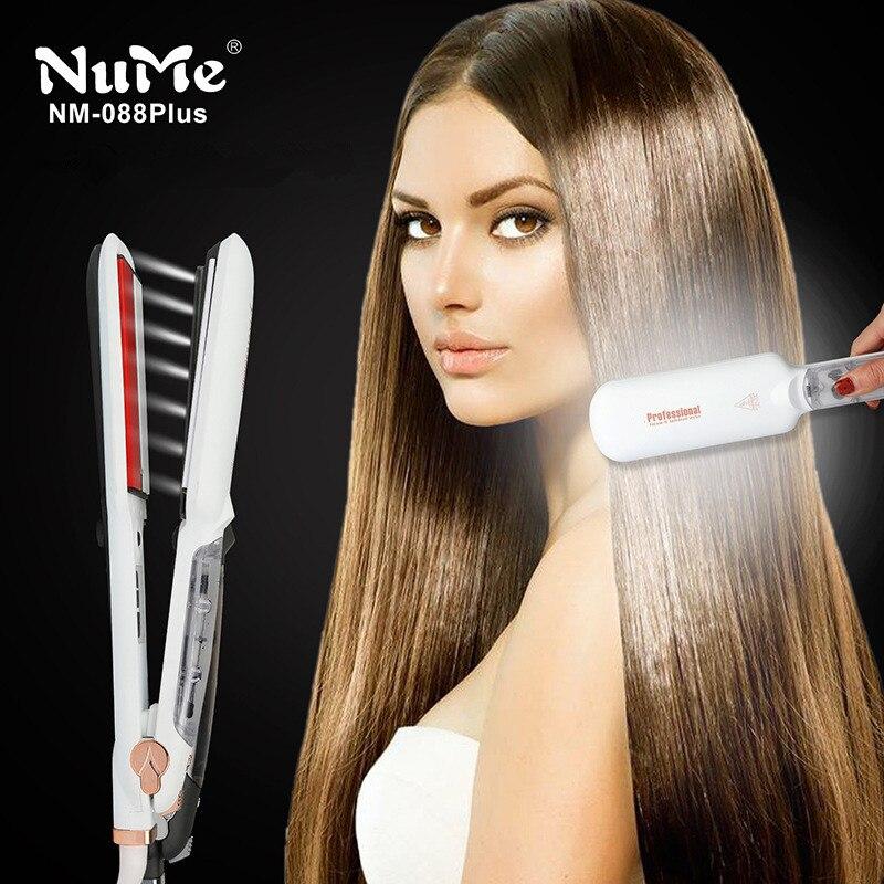 Profesional plancha de pelo de vapor de cerámica infrarroja plana hierro steampod salón 2 pulgadas herramienta mojado hairstyler