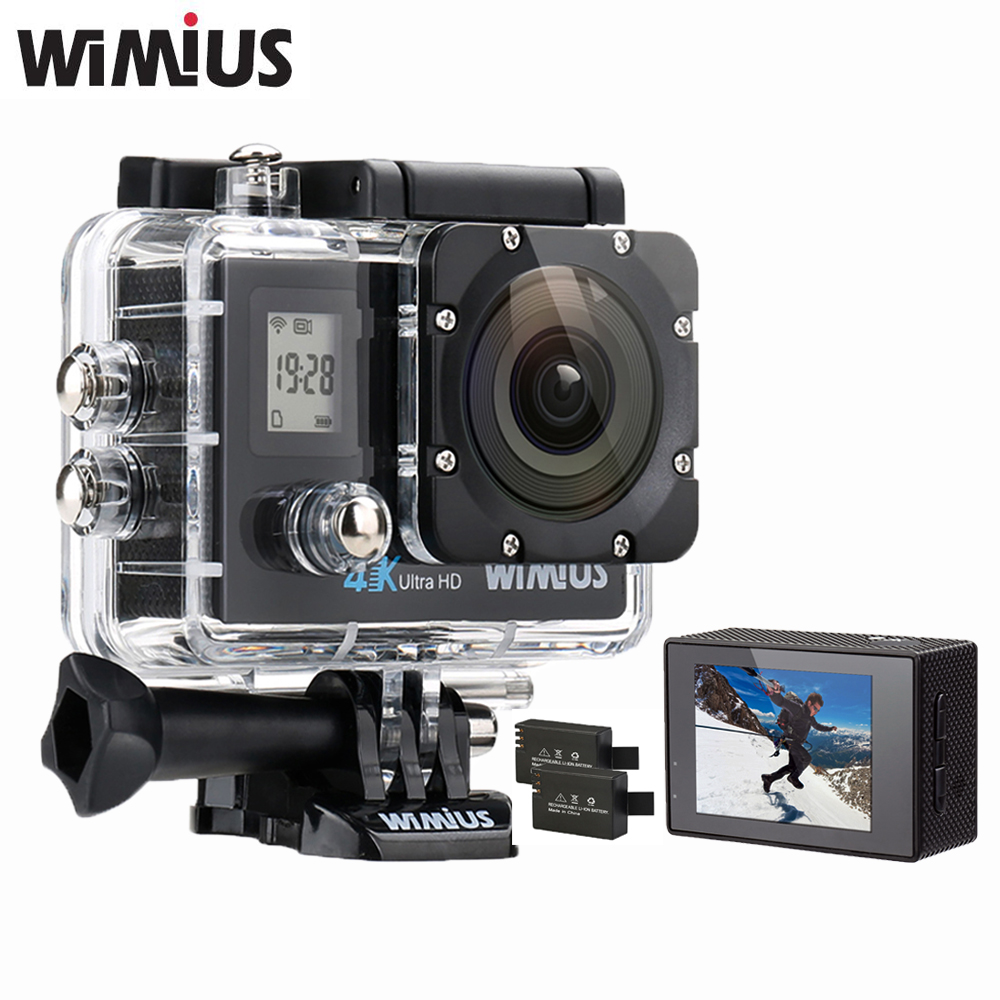 ФОТО WiMiUS Q4 Wifi 4K Ultra HD Video Action Camera Double Screen 16MP 170D Super-Wide Angle Sports Helmet Cam Go Waterproof 40M Pro