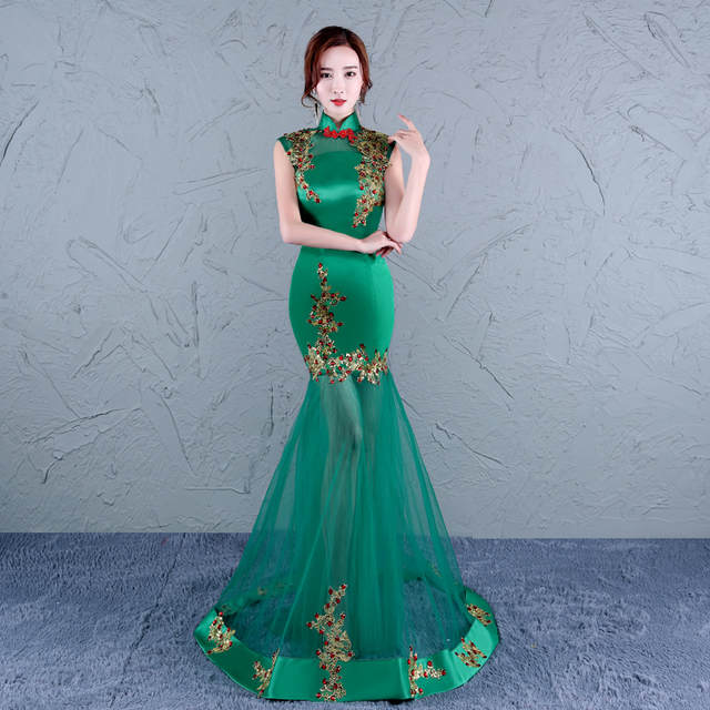 placeholder embroidery qipao cheongsam shanghai traditional chinese wedding  dragon wedding dress modern qipao dress green long mermaid 106a320a12ee