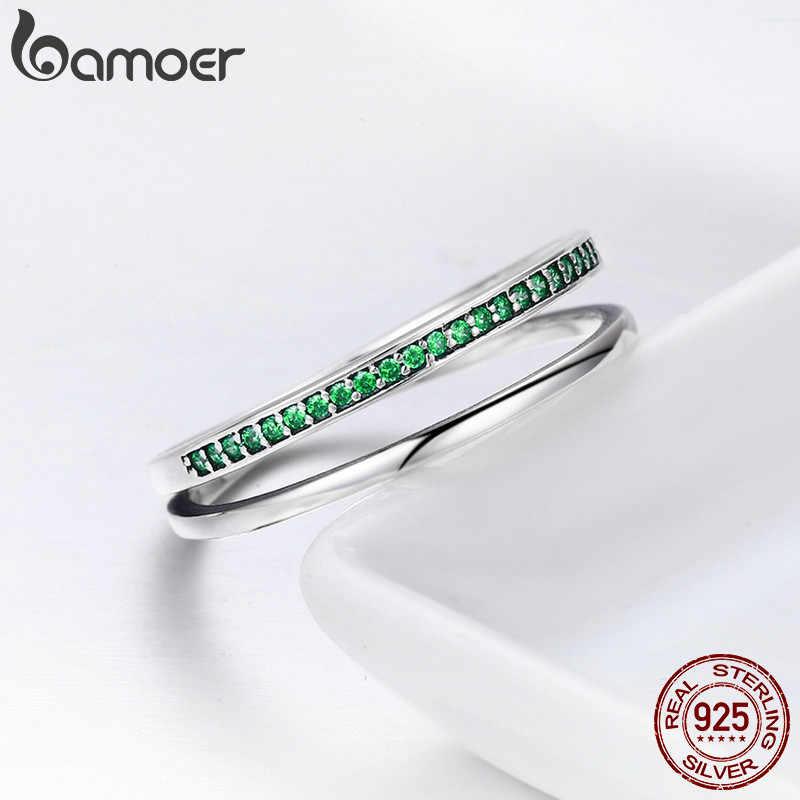 BAMOER offre spéciale 100% 925 en argent Sterling 3 couleur empilable Double cercle couches anneau pour les femmes authentique bijoux en argent SCR294