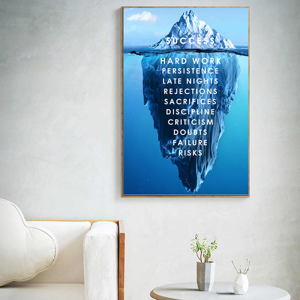 Iceberg of Success Canvas Poster Landscape Motivational Canvas Wall Art Quote Nordic Print Wall Picture for Living Room Modern