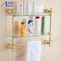 62 Jade серии Золотой полированный двойной Полки для ванной Аксессуары для ванной комнаты Полотенца крючок и крючок с Стекло Туалетная полка