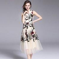 HAMALIEL New Fashion Designer Women Summer Dress 2018 Luxury Sleeveless Floral Embroidery Vest Dress Vintage Slim Party Dress