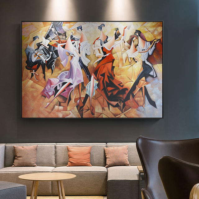 Abstract Banquet Y Lady Party Carnival Piano Canvas Painting Middle Ages Posters For Living Room Aisle Home Decor Wall Art