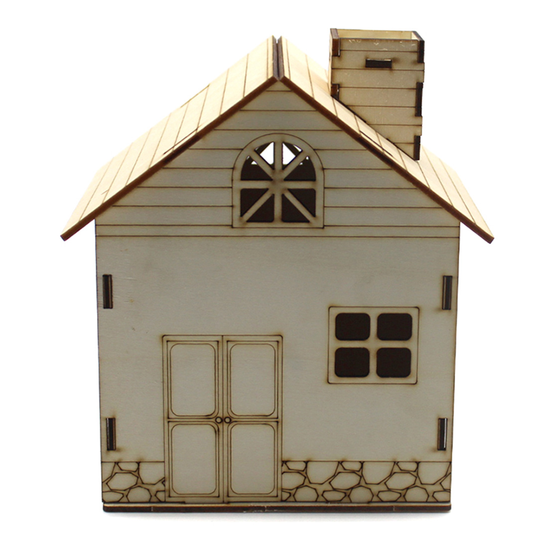 Kids Toy Wooden Paintable House DIY Assemble Experimental Module Toy DIY Dolls Toy Money Coin Saving Piggy Bank Decor Box