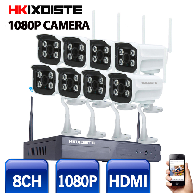 8CH CCTV System Wireless  NVR 8PCS 2.0MP IR Outdoor P2P Wifi IP CCTV Security Camera System Surveillance Kit 1080P WIFI Camera