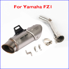 FZ1 Slip-on Motorcycle Exhaust Escape System Pipe Tip Muffler Link Connect Section Pipe Modified for Yamaha FZ1 fz1 motorcycle carbon fiber exhaust pipe middle mid link connect tube slip on whole set pipe for yamaha fz1