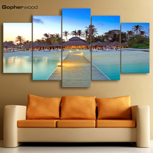 Decor Home Living Room Frame 5 Pieces Sea Bridge Palm Trees House Seascape Pictures HD Printed Modular Canvas Paintings Wall Art