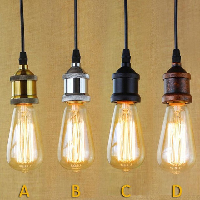 Single Edison Bulbs Pendant Lights Vintage E27 Light Cafe Bar Free Shipping