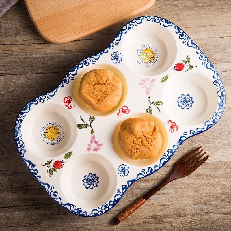 Moule en céramique de cuisson de couleur de sous-glaçure Six trous moule de gâteau antiadhésif four de ménage rond petit gâteau de moule pour faire soi-même de modèle de tarte aux oeufs