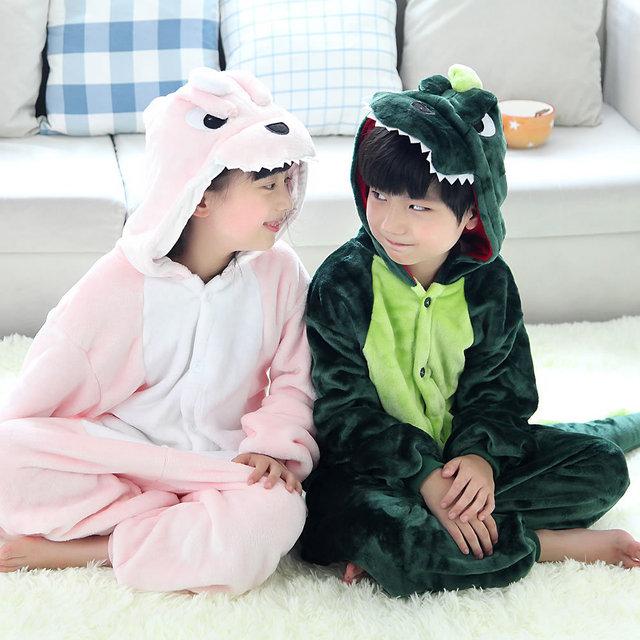 2016 Dinossauro 2-11 Anos de Idade Roupas Infantis Menina Crianças Inverno Flanela Pijamas 1 Peça Roupas Miúdo Romper Com Capuz Sleepwear