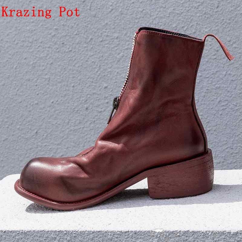 Ayakk.'ten Ayak Bileği Çizmeler'de Krazing Pot Kış hakiki deri fermuar dekorasyon motosiklet botları 5 cm topuklar streetwear yüksek kaliteli kadın yarım çizmeler L23'da  Grup 1