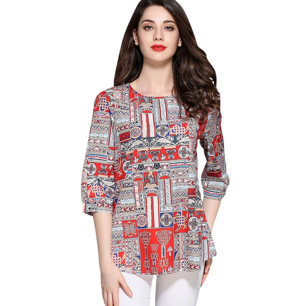 Bohemia Ethnic Women Shirt Elegant Matching Color Female Summer Tops Short Sleeve Special Printing Casual Breathable Lady Tops