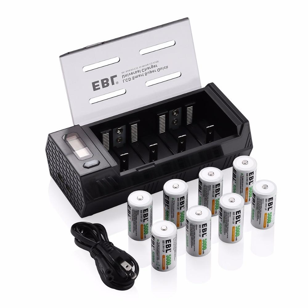 EBL 8 pcs/lot 5000 mAh taille C Batteries rechargeables + chargeur de batterie pour AA AAA C D 9 V Ni-MH ni-cd batterie avec double Ports USB