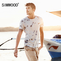 SIMWOOD 2017 Summer New T Shirts Men 100 Pure Cotton Tie Dyed Causal Short Sleeve Tops