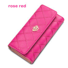 цены Hot sale new fashion high capacity women wallets metal crown lady long clutch wallet female PU leather flip up card holder purse