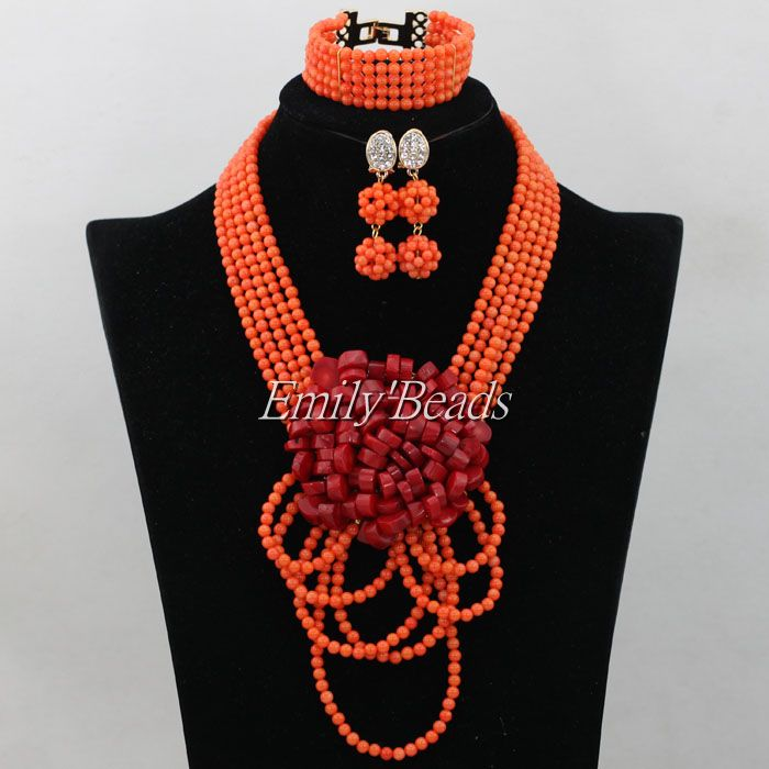 Free Shipping! 2016 Fashion Red Coral Beads Jewelry Set Charms Nigerian Wedding African Costume Jewelry Set High Quality CJ513 free shipping 2017 fashion red coral beads jewelry set charms red twisted strands african jewelry set high quality cnr132