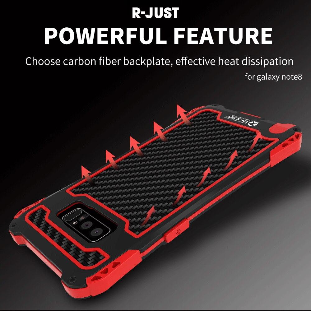 Caso À Prova de Choque À Prova D' Água para Samsung S8 R-JUST Fibra De Carbono do Metal Bumper capa para Samsung Galaxy Nota 8 s8 s8 s9 s9 Plus além de