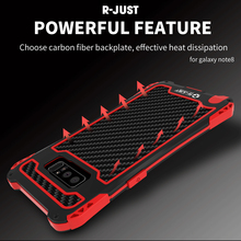 R-JUST Shockproof Waterproof Case for Samsung S8 Carbon Fiber Metal Bumper Cover for Samsung Galaxy s9 s9 Plus Note 8 s8 s8 plus