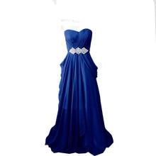 Royal Blue Chiffon Abendkleid Besondere Strass Herzförmiger ausschnitt Lange Abendkleid Frauen Formale Kleid
