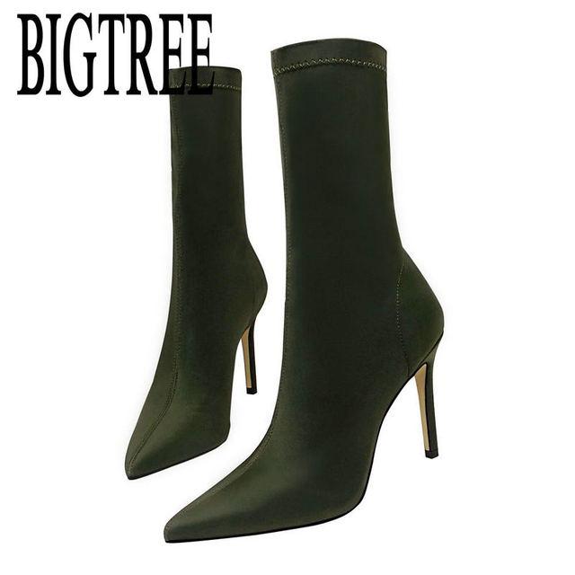 BIGTREE 2018 YENI Sonbahar kadın Çizmeler Sivri Burun Iplik Elastik yarım çizmeler Kalın Topuk Yüksek Topuklu Ayakkabılar Kadın Kadın Çorap çizmeler