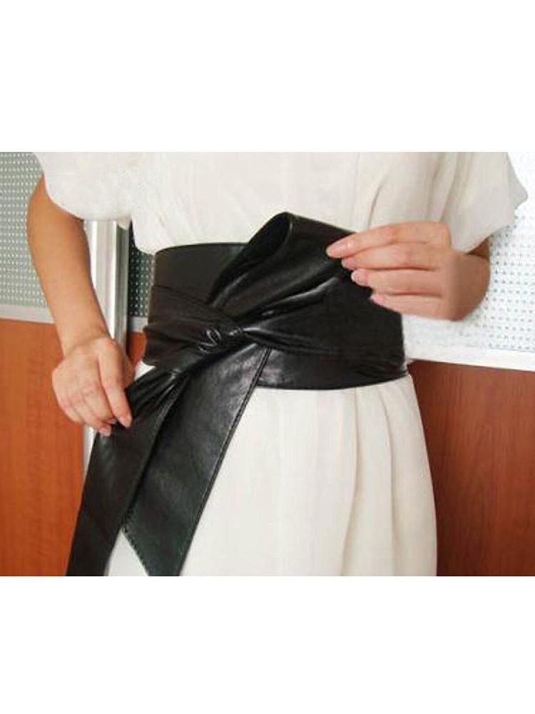 DSstyles Womens PU Leather   Belts   Fashion Soft Self Tie Wrap Around Waist Band   Belt   Bowknot Bind Wide Waistband Female   Belts