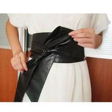 DSstyles Womens PU Leather Belts Fashion Soft Self Tie Wrap Around Waist Band