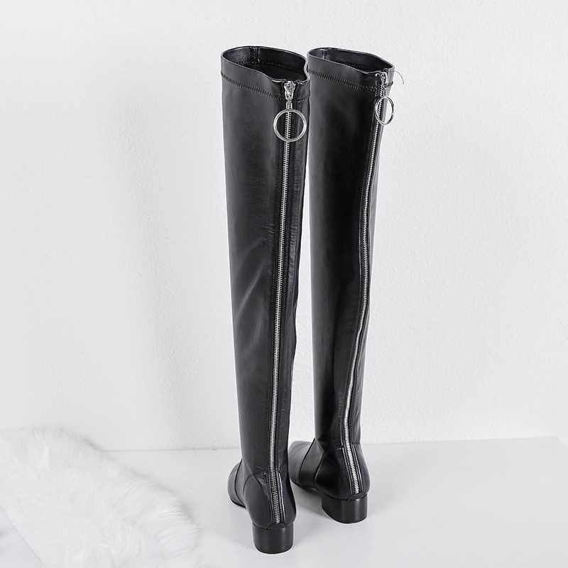MNIXUAN/женская зимняя обувь; ботфорты выше колена; Новинка 2018 года; кожаные высокие сапоги из эластичного бархата с острым носком на молнии