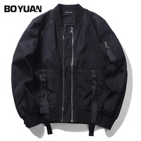 BOYUAN Brand Designer Jacket Style Bomber Jacket Coat Men 2017 Spring Autumn Male Jacket Polyester Solid