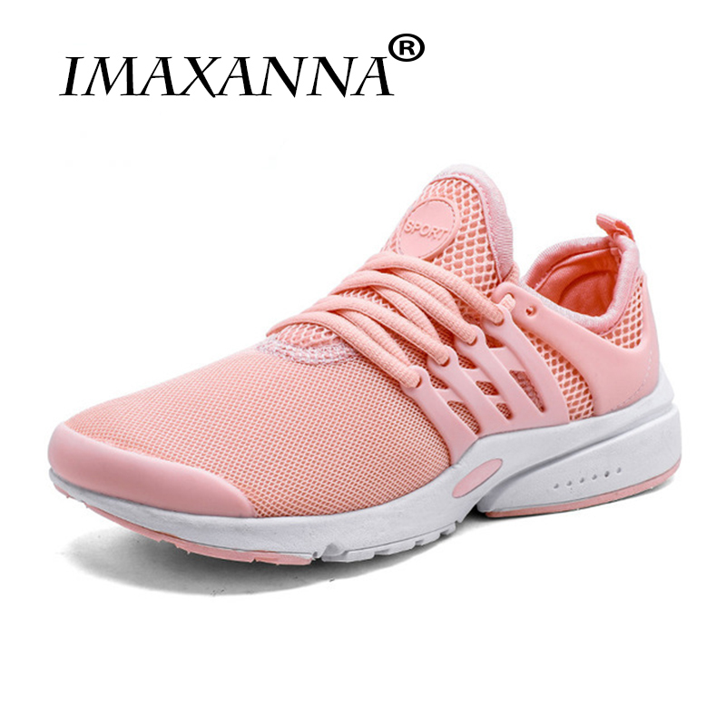 IMAXANNA Sports man and women sneakers Outdoor Breathable Comfortable Running Shoes Lightweight Athletic Mesh Sneakers Women trendy breathable and tie up design athletic shoes for women