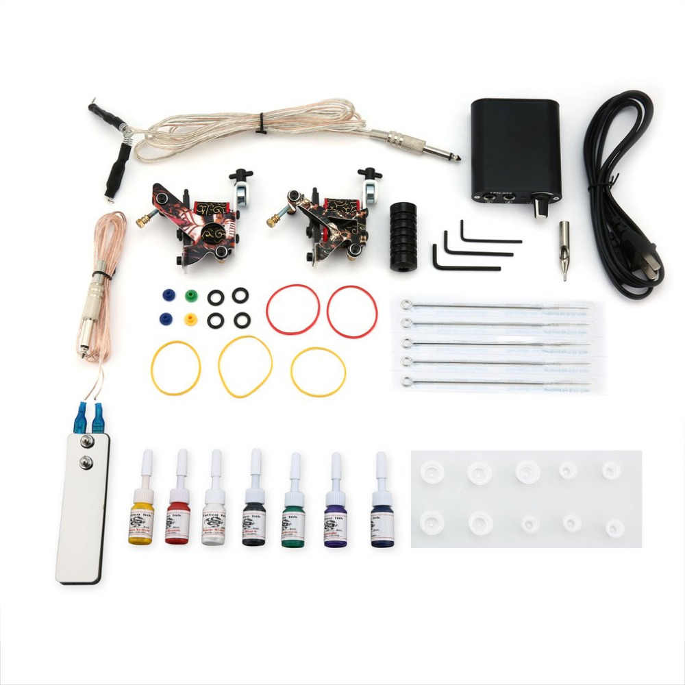 Tattoo Complete Beginner Tattoo Kit 2 Pro Machine Guns 7 Kleuren Inks Voeding Naald Grips Tips Tatto Accessoires Nieuwe verkoop