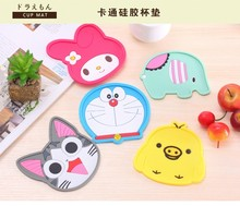 Cute Anime Silicone Coffee Placemat Cartoon Drink Coaster Cup Glass Beverage Holder Pad Mat
