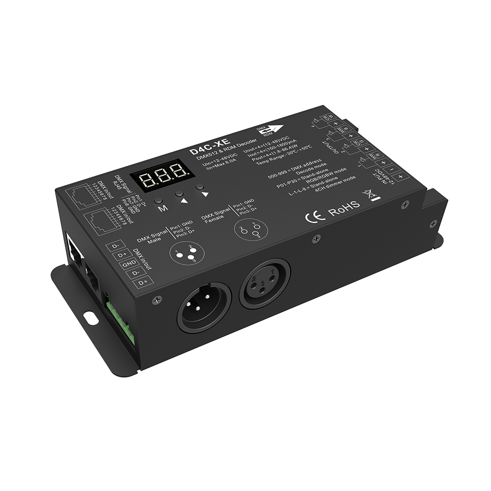 D4C-XE;4 channel constant current DMX decoder with digital display;DC12-48V input;4CH,150-1800mA (customized)/CH output 4channel 4ch pwm constant current dmx512 rdm led decoder with digital display xlr3 rj45 port dc12v 48v input setting dmx address