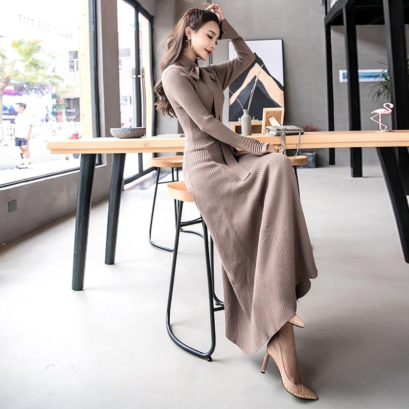 Un Vestito Donne Rende A Modo Rosso Abiti Sottile Manicotto Di Maglia 2017 Lungo Maglione Cioccolato Lavoro Nero 3389 Pieno Da Nuovo wOPtCO5q6