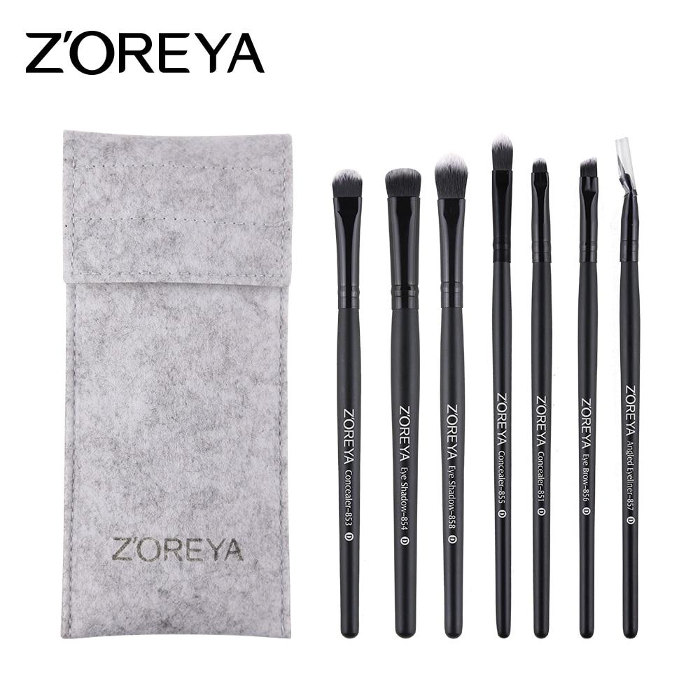 ZOREYA Brand 7PCS Eye Make Up Brushes With Bag Powder Eyeliner Eye shadow Brow Concealer brush As Cosmetic Tool For Beauty soft eye brush 7pcs