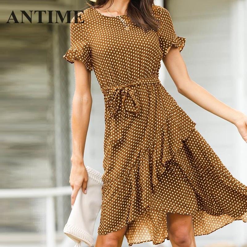 99cee64b1f770 ANTIME Short New Dress Sleeve Dot Ruffles A Line Spring Summer O Neck  Casual Beach Women Fashionable ...