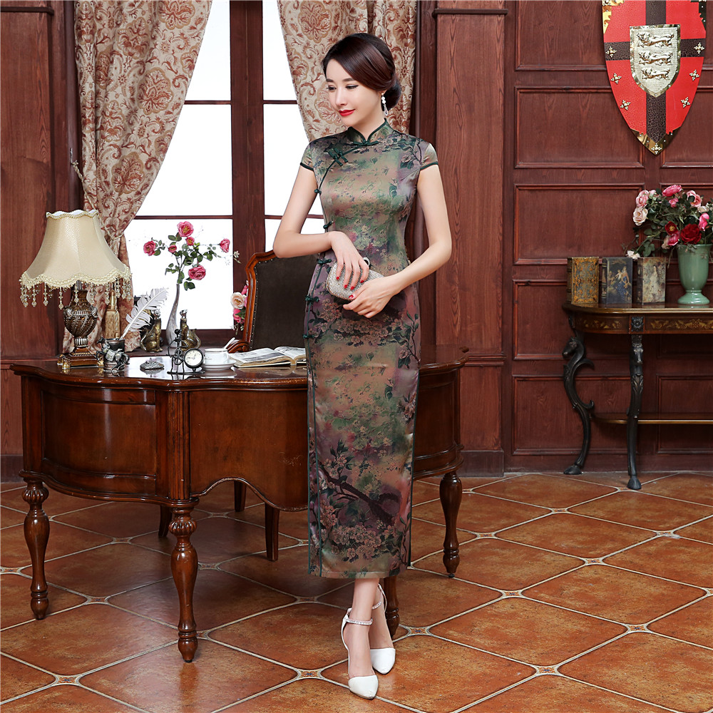 цены New Arrival Chinese Women's Traditional Dress Classic Velvet Qipao Elegant Long Cheongsam Summer Casual Dress S M L XL XXL XXXL