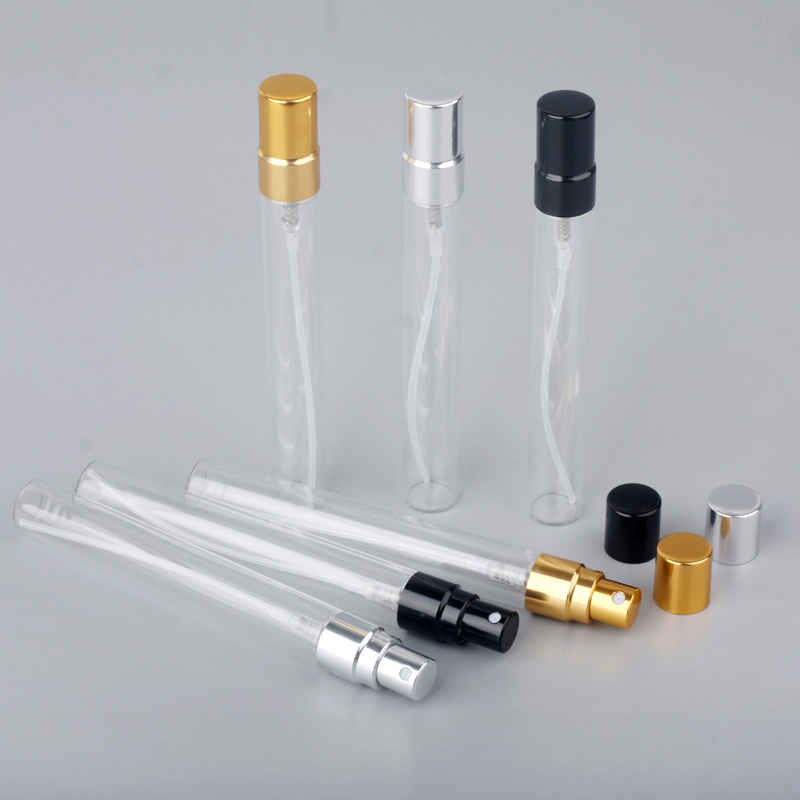 50pcs/lot 10ml Glass Spray Bottle Aluminium Perfume Atomizer Sample Gift Empty Cosmetic Containers for Travil Container