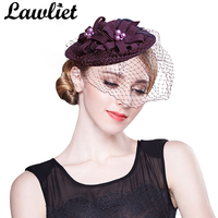 A069 PurPle Feather Pearl Womens Dress Vintage Fascinator Wool Cupid Hat Wedding Show Free Shipping