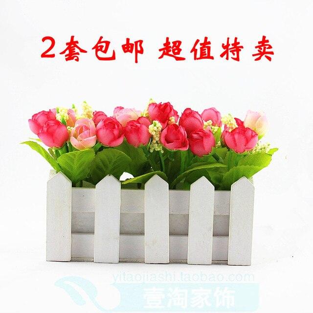 4843de563 Bunga busana sutra, Bunga buatan, Bunga plastik, Teh kecil naik, Pagar set